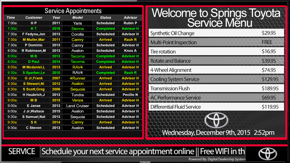 chevy service appointment menu sign